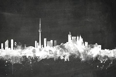 Blackboards Digital Art - Toronto Canada Skyline by Michael Tompsett