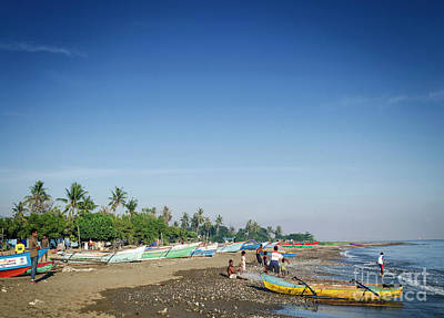 Vintage College Subway Signs Color - Traditional Fishing Boats On Dili Beach In East Timor Leste by JM Travel Photography