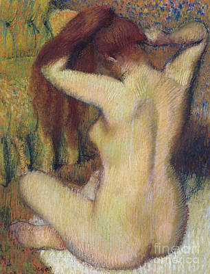 Pastel - Woman Combing Her Hair by Edgar Degas