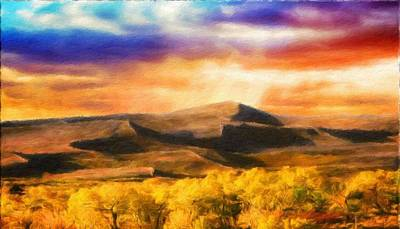 Dusk Painting - Art Landscape Nature  by World Map