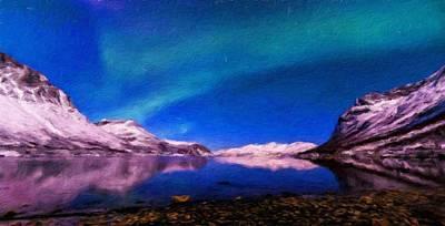 Lake Painting - Nature Landscape Light by World Map