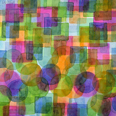 Befriended Squares And Bubbles Art Print by Heidi Capitaine