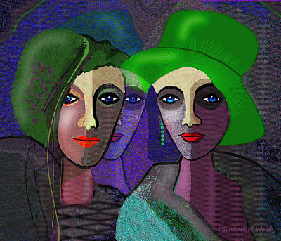 Painting - 1300 - Green Hats by Irmgard Schoendorf Welch
