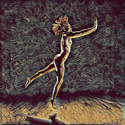 Digital Art - 1302s-zak Naked Dancers Leap Nudes In The Style Of Antonio Bravo by Chris Maher