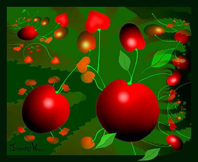 Painting - 1304 - Big Cherries 2007 by Irmgard Schoendorf Welch