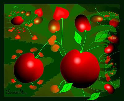 Painting - 1304 - Cherries by Irmgard Schoendorf Welch