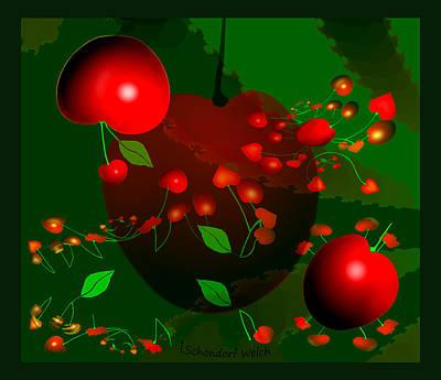 Painting - 1305 - Cherries by Irmgard Schoendorf Welch