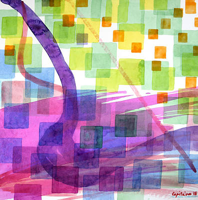Blue And Pink Dance Painting - Bend And Squares by Heidi Capitaine