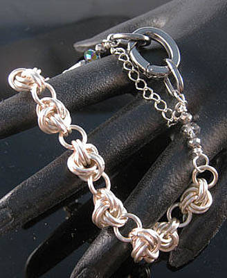 Jewelry - 1312 Hematite Silver Knot by Dianne Brooks
