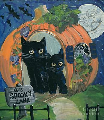 Moonface Painting - 1313 Spooky Lane by Sylvia Pimental