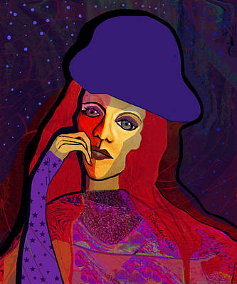 Digital Art - 1314- Lady With Blue Hat by Irmgard Schoendorf Welch