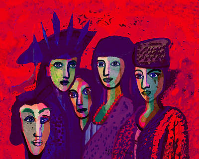 Digital Art - 1318 - We Are Family 2017 by Irmgard Schoendorf Welch