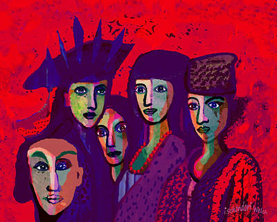 Digital Art - 1318 - We Are Family 2017 V by Irmgard Schoendorf Welch