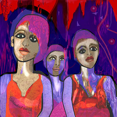 Photograph - 1319 Three Young Girls 2018 V by Irmgard Schoendorf Welch