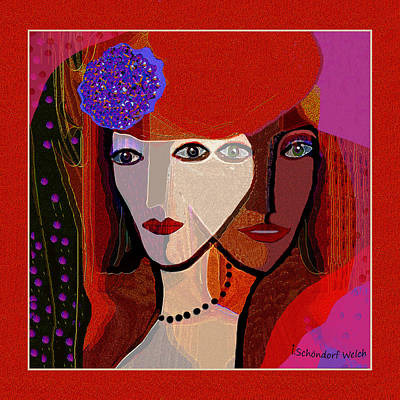 Digital Art - 1324 - The  Two Sides Of A Girls Face 2017 by Irmgard Schoendorf Welch
