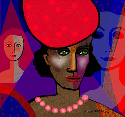 Digital Art - 1325 Lady With Red Pocodot Hat 2018 by Irmgard Schoendorf Welch