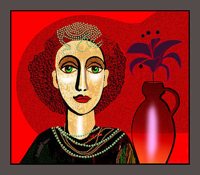 Digital Art - 1327 Girl With Pearl Necklet And Vase 2017 V by Irmgard Schoendorf Welch