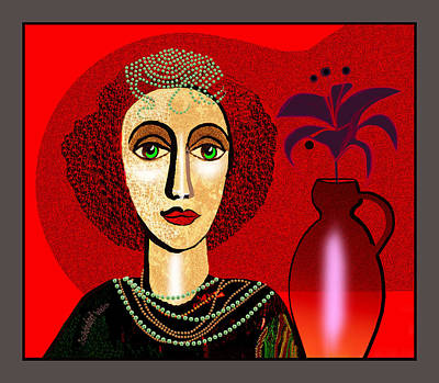 1327 - Girl With Pearl Necklet And Vase 2017 Art Print