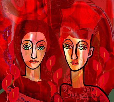 Digital Art - 1379 - Wary Eyed Women  A by Irmgard Schoendorf Welch