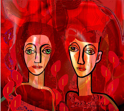 Digital Art - 1379 - Pensive Women 2017 by Irmgard Schoendorf Welch