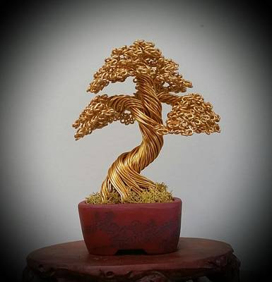 #139 Gold Tree In A Bunzan Pot Original by Ricks Tree Art