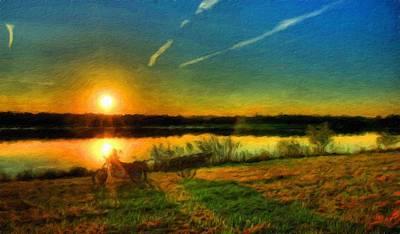 Lake Painting - Landscape Art Nature by Margaret J Rocha