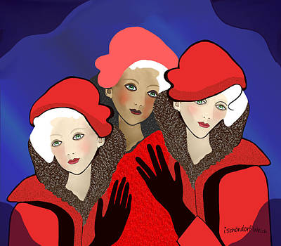 1391 - Three Chicks In Red 2017 Art Print by Irmgard Schoendorf Welch