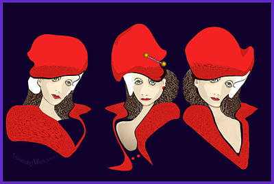 Digital Art - 1393 - The Three Graces With Wild Red Hats by Irmgard Schoendorf Welch