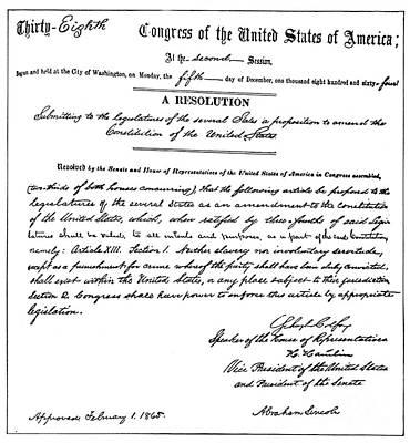 Autographed Photograph - 13th Amendment, 1865 by Granger