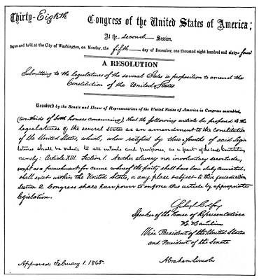 Photograph - 13th Amendment, 1865 by Granger