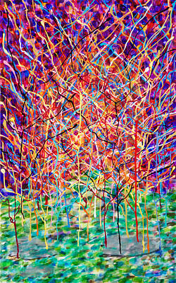 Painting - 14-23 Complex Green Purple Trees by Patrick OLeary
