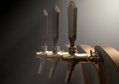 Macro Digital Art - Beer Tap by Allan Swart
