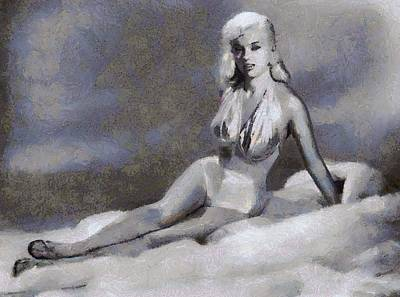 Dor Wall Art - Painting - Bettie Page Pinup  by Esoterica Art Agency