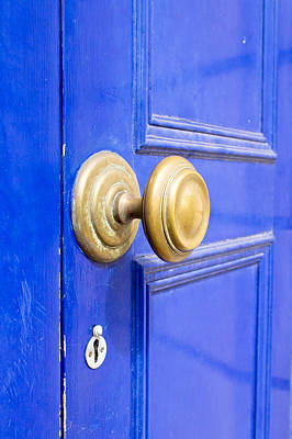 Knocker Photograph - Blue Door by Tom Gowanlock