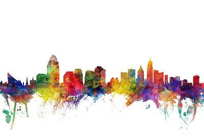 Digital Art - Cincinnati Ohio Skyline by Michael Tompsett