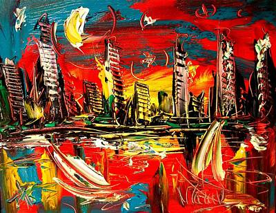 Water Sports Poster Painting - City by Mark Kazav