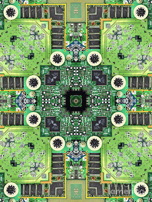 Electronic Photograph - Computer Circuit Board Kaleidoscopic Design by Amy Cicconi