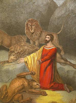 Daniel In The Lions' Den Print by English School