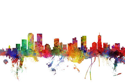 Denver Skyline Wall Art - Digital Art - Denver Colorado Skyline by Michael Tompsett