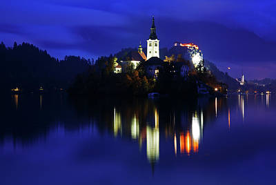Photograph - Dusk Over Lake Bled by Ian Middleton