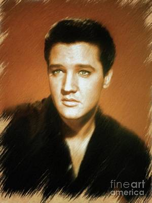 Painting - Elvis Presley, Rock And Roll Legend by Mary Bassett