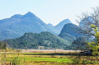 Photograph - Karst Mountains Scenery In Winter by Carl Ning