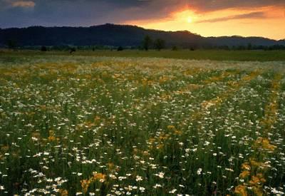 A Summer Evening Landscape Digital Art - Landscape Painting Art by Victoria Landscapes