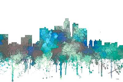 Digital Art - Los Angeles California Skyline by Marlene Watson
