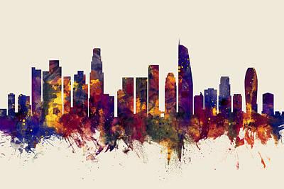 Los Angeles Skyline Wall Art - Digital Art - Los Angeles California Skyline by Michael Tompsett