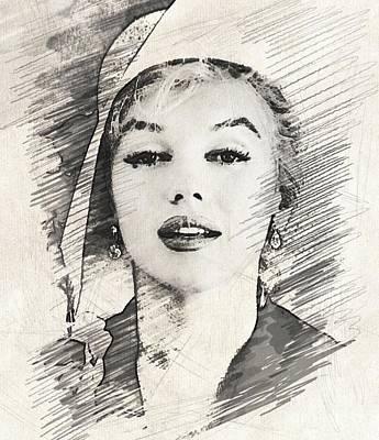 Musicians Drawings - Marilyn Monroe by John Springfield by John Springfield