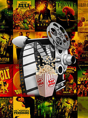 Popcorn Mixed Media - Movie Room Decor Collection by Marvin Blaine
