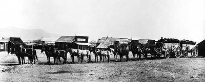 Horse And Wagon Photograph - 14 Mule Team Ore Wagon - California Desert - C. 1905 by Daniel Hagerman