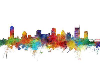 Nashville Skyline Wall Art - Digital Art - Nashville Tennessee Skyline by Michael Tompsett