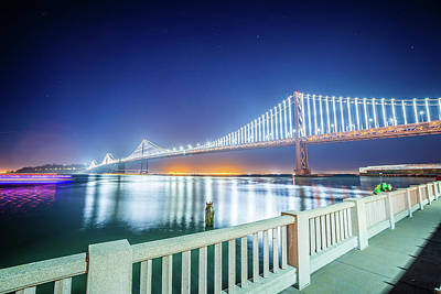 Photograph - Oakland Bay Bridge Views Near San Francisco California In The Ev by Alex Grichenko